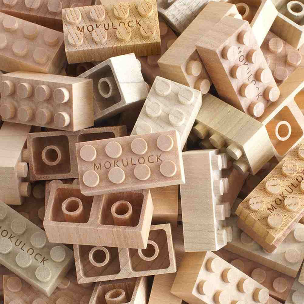 Mokulock natural wooden interlocking building bricks
