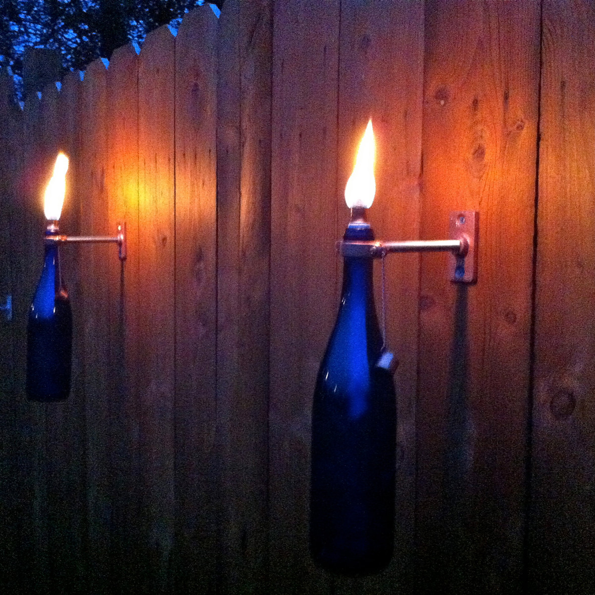 Wall Mounted Citronella Lamps : Mounted Wine Bottle Tiki Torches - The Green Head