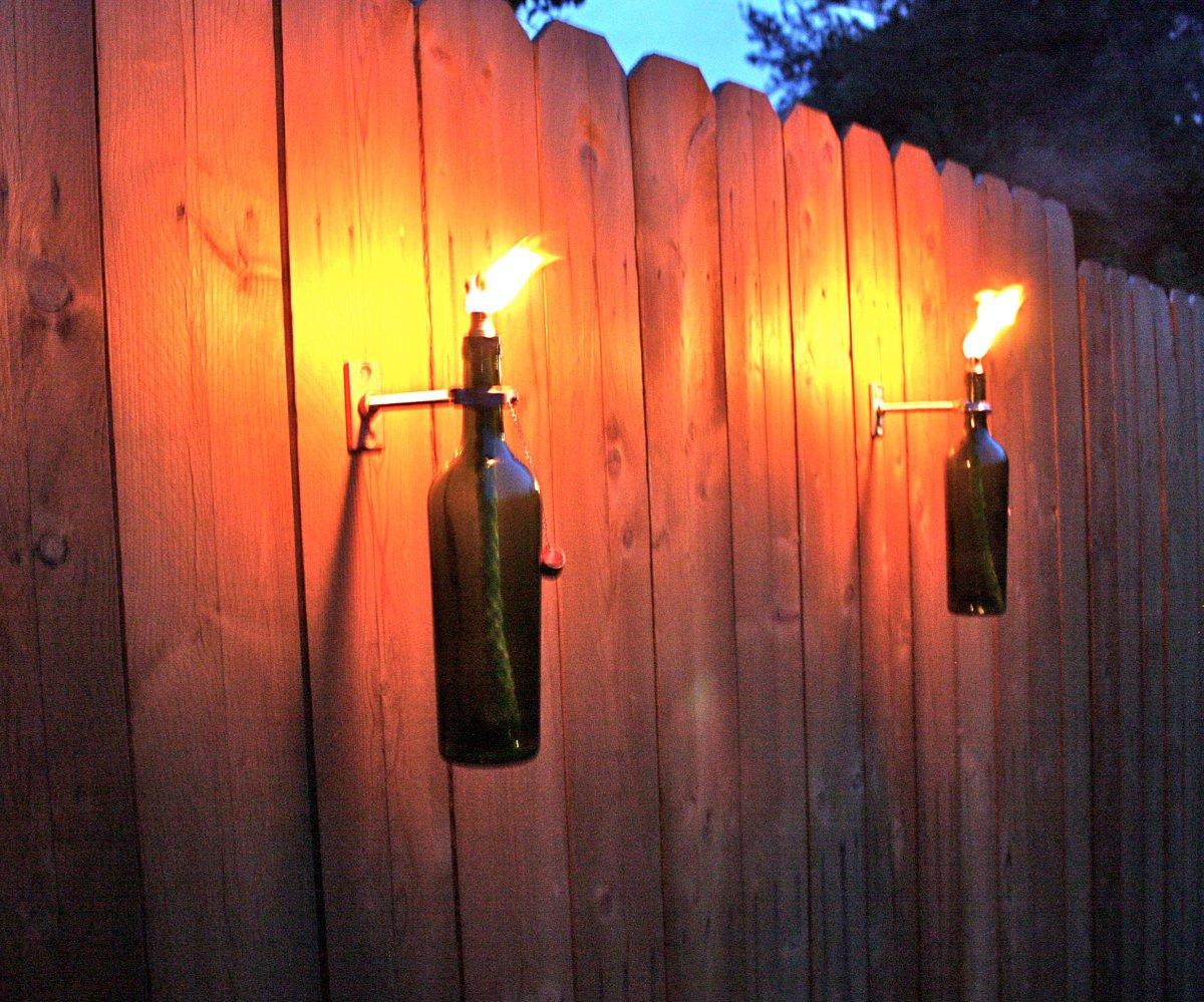 Mounted Wine Bottle Tiki Torches