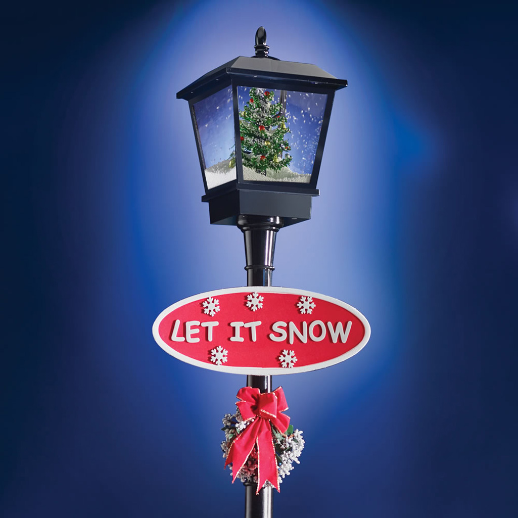 Snowing christmas decoration let it snow - Musical Snowing Christmas Lamppost