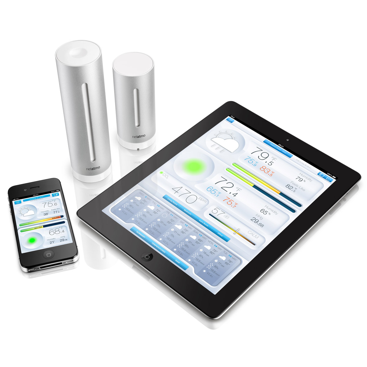netatmo weather station and air quality monitor for iphone and ipad the green head. Black Bedroom Furniture Sets. Home Design Ideas