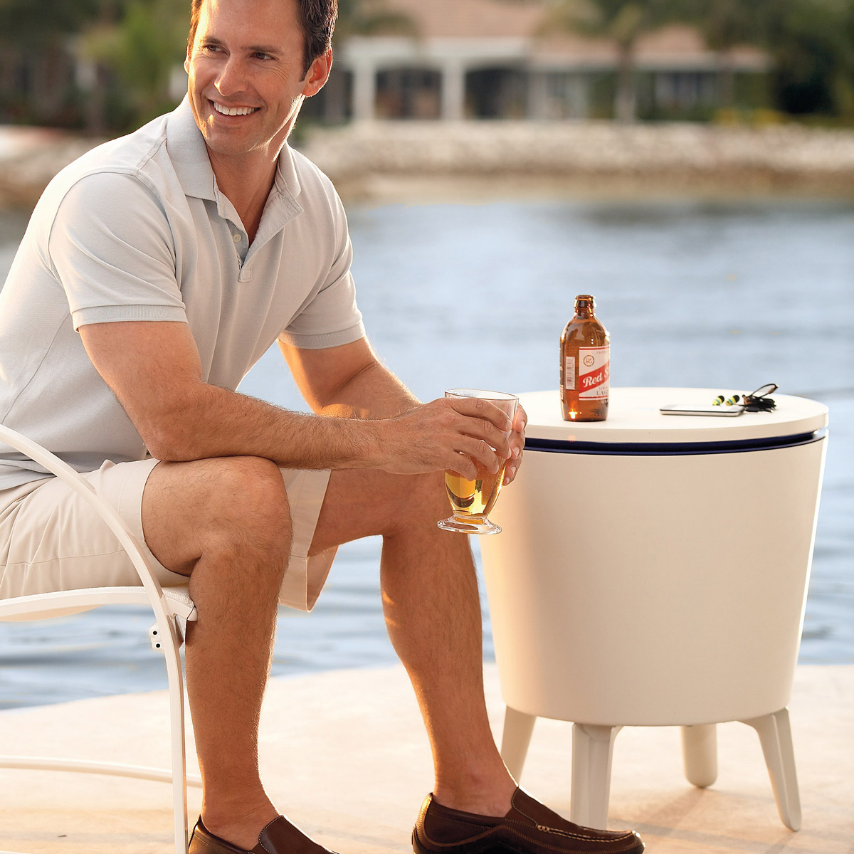 Outdoor Side Table Beverage Cooler The Green Head