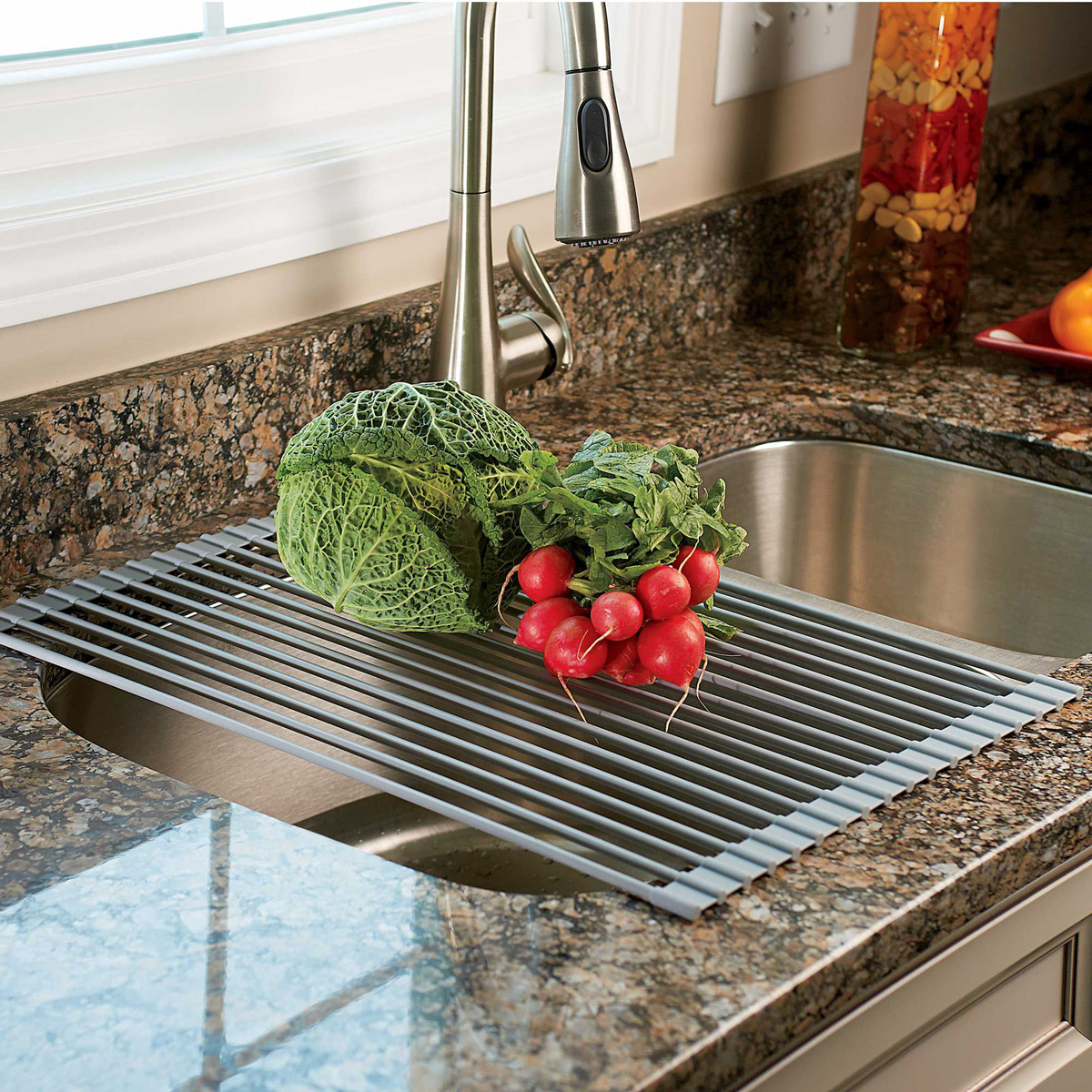 Kitchen Drying Rack For Sink Over The Sink Roll Up Drying Rack Colander The Green Head