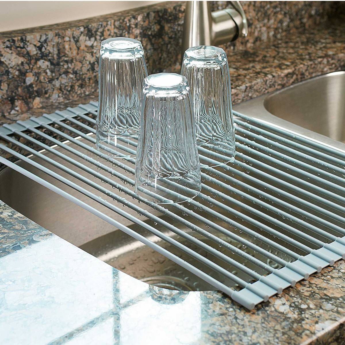 Over the sink roll up drying rack colander the green head - Kitchen sink drying rack ...