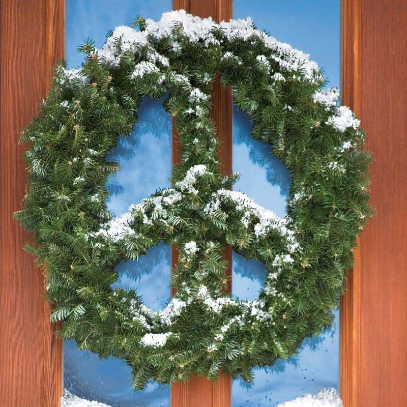 Peace Christmas Sign.Peace Sign Wreath