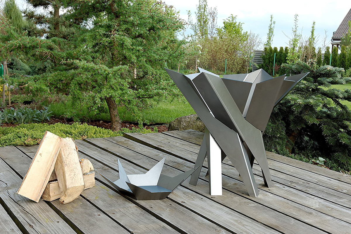 Phoenix Blossom Sculptural Stainless Steel Fire Pit