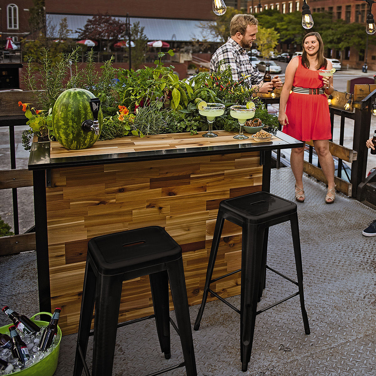 plant a bar wooden outdoor bar and planter the green head