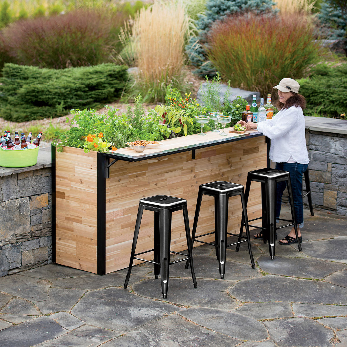 Plant a bar wooden outdoor bar and planter the green head for Patio accessories ideas