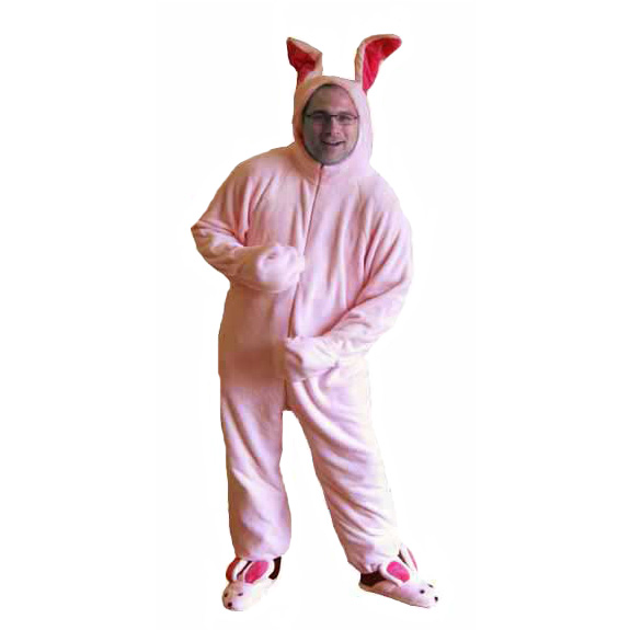 ralphies bunny suit pajamas from aunt clara in a christmas story