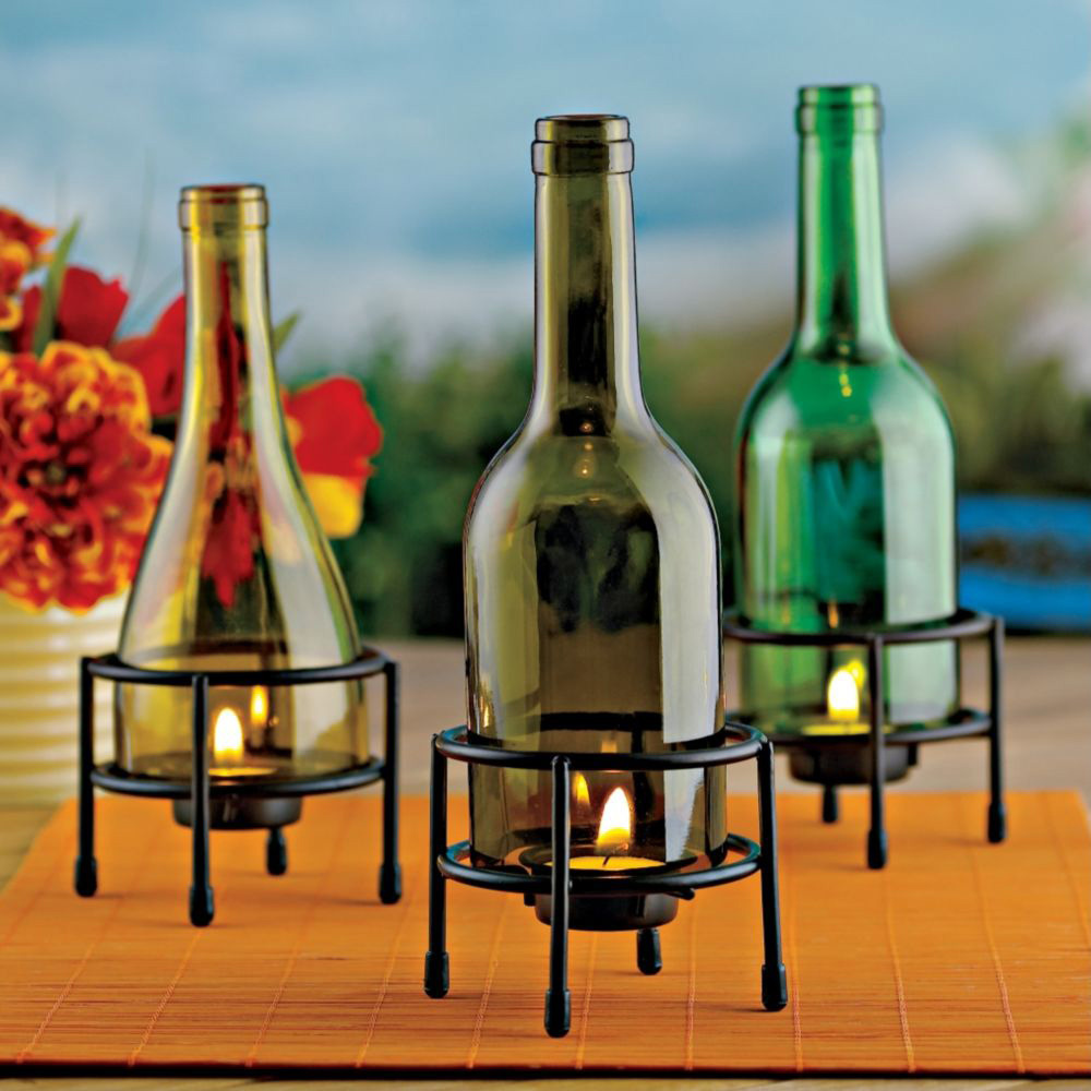 Recycled wine bottle glasses - Recycled Wine Bottle Tealight Holders