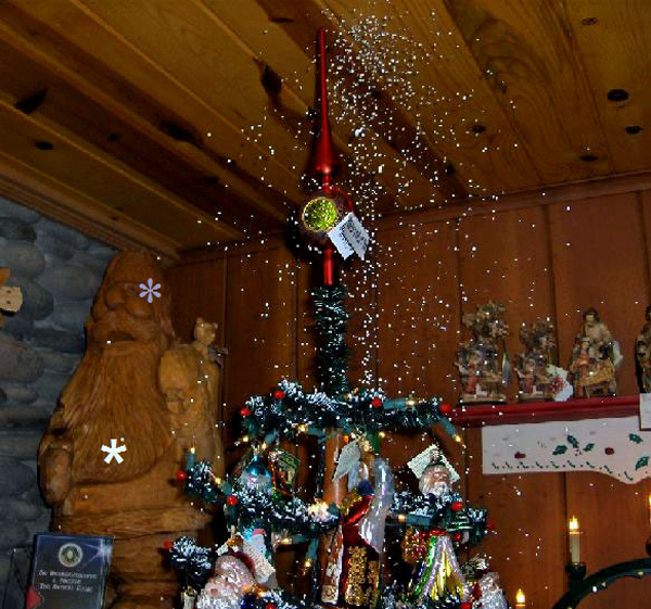Artificial Christmas Tree With Snow Falling On It