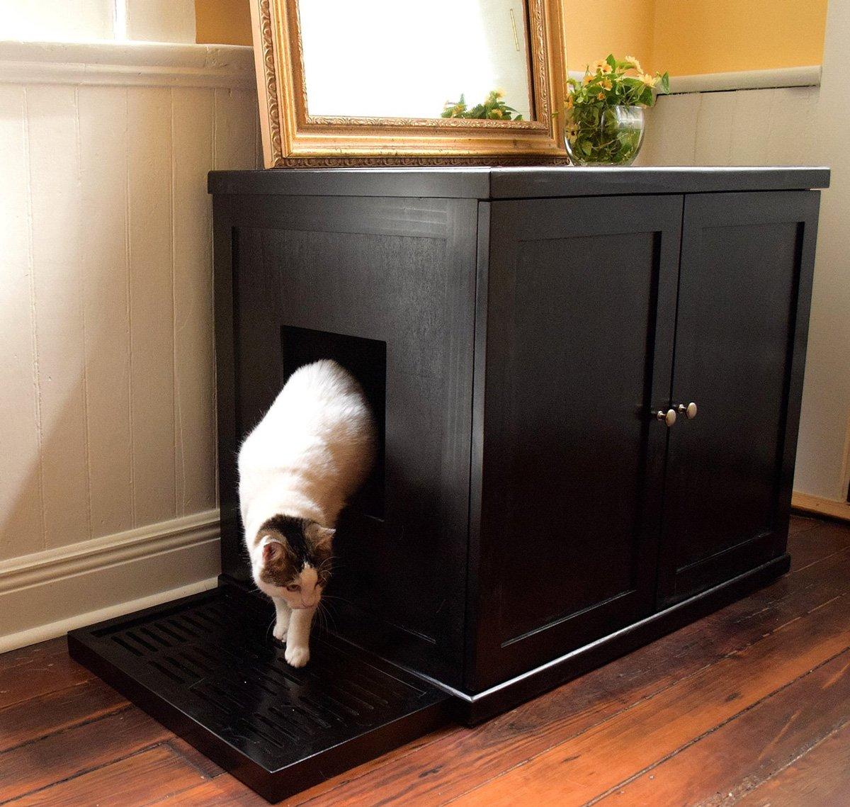 Refined Feline Wooden Litter Box Cabinet - The Green Head