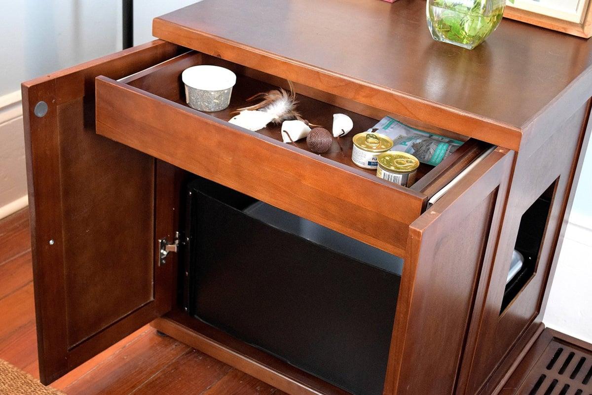 Refined Feline Wooden Litter Box Cabinet