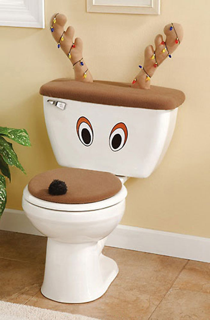 Reindeer Toilet Seat Cover And Antlers Set The Green Head