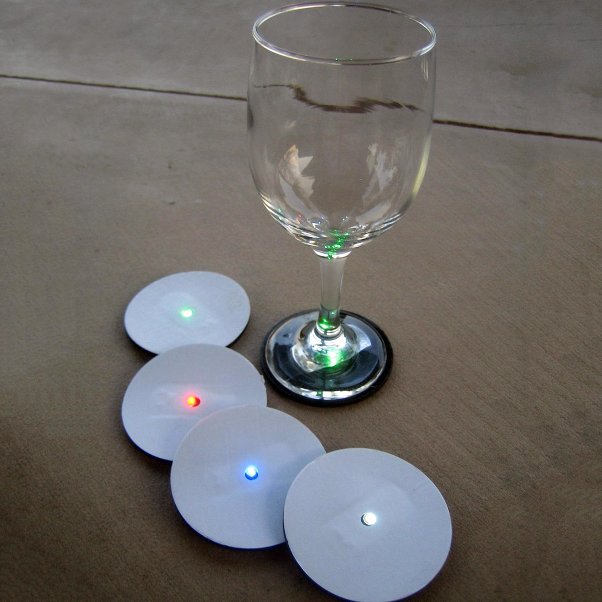 Reusable led wine glass base lights the green head - Lighted coaster ...