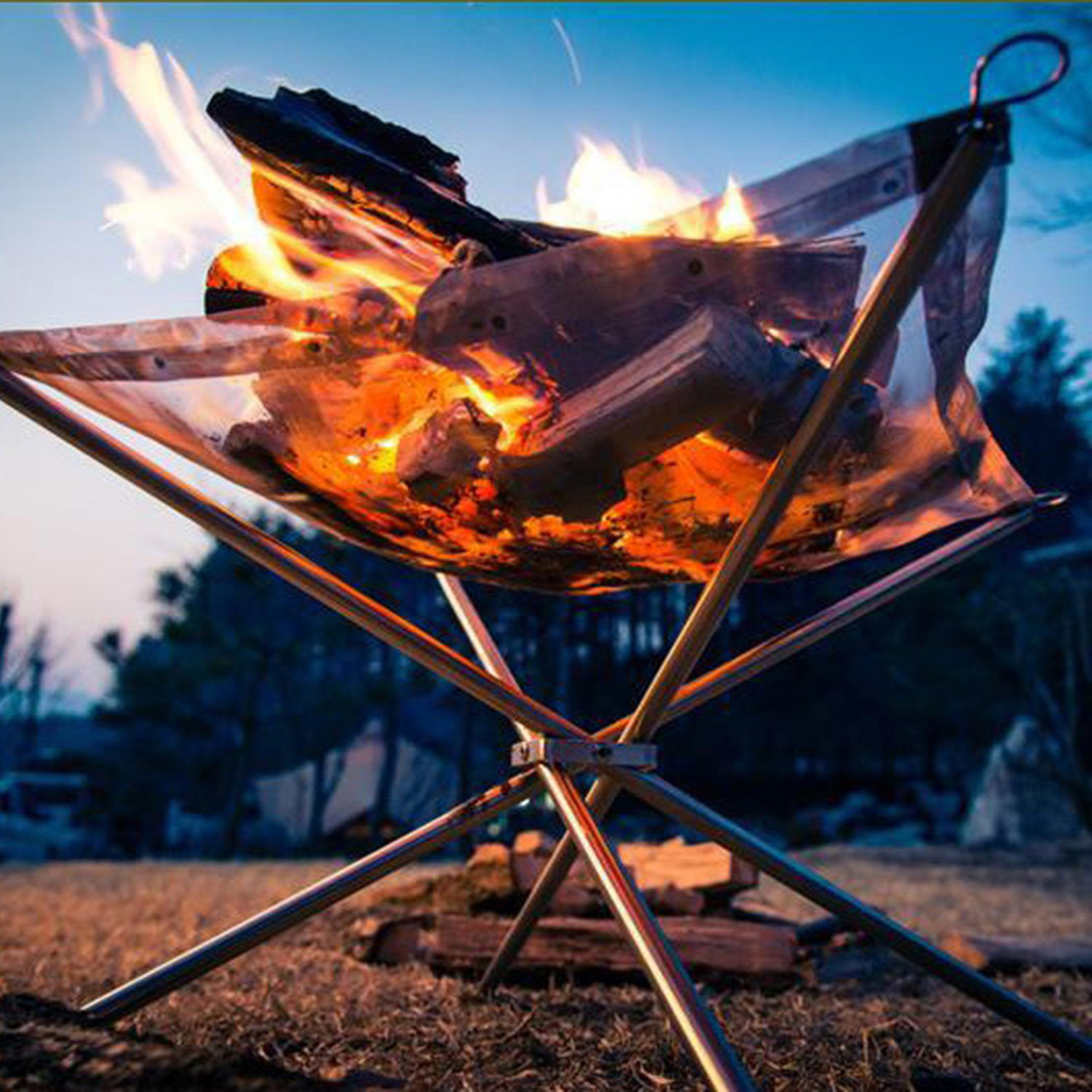 Portable Outdoor Fire Pit Collapsible Steel Mesh Fireplace Foldable For Camping