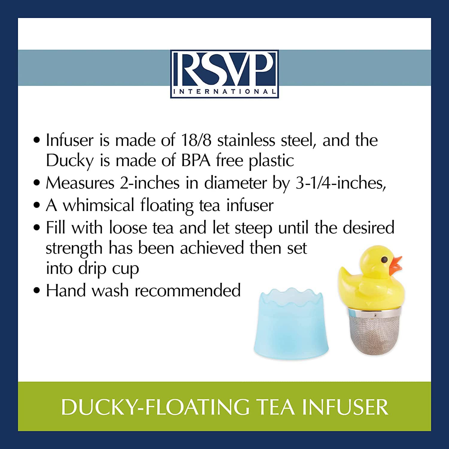 Rubber Duck Floating Tea Infuser The Green Head