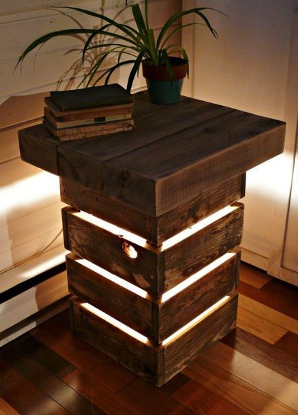 Rustic Reclaimed Wood Table With Light The Green Head