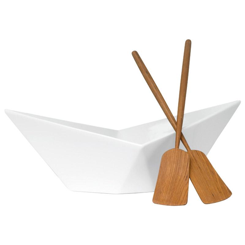 Fresh Sagaform Paper Boat Serving Bowl with Teak Oar Utensils - The  RA31
