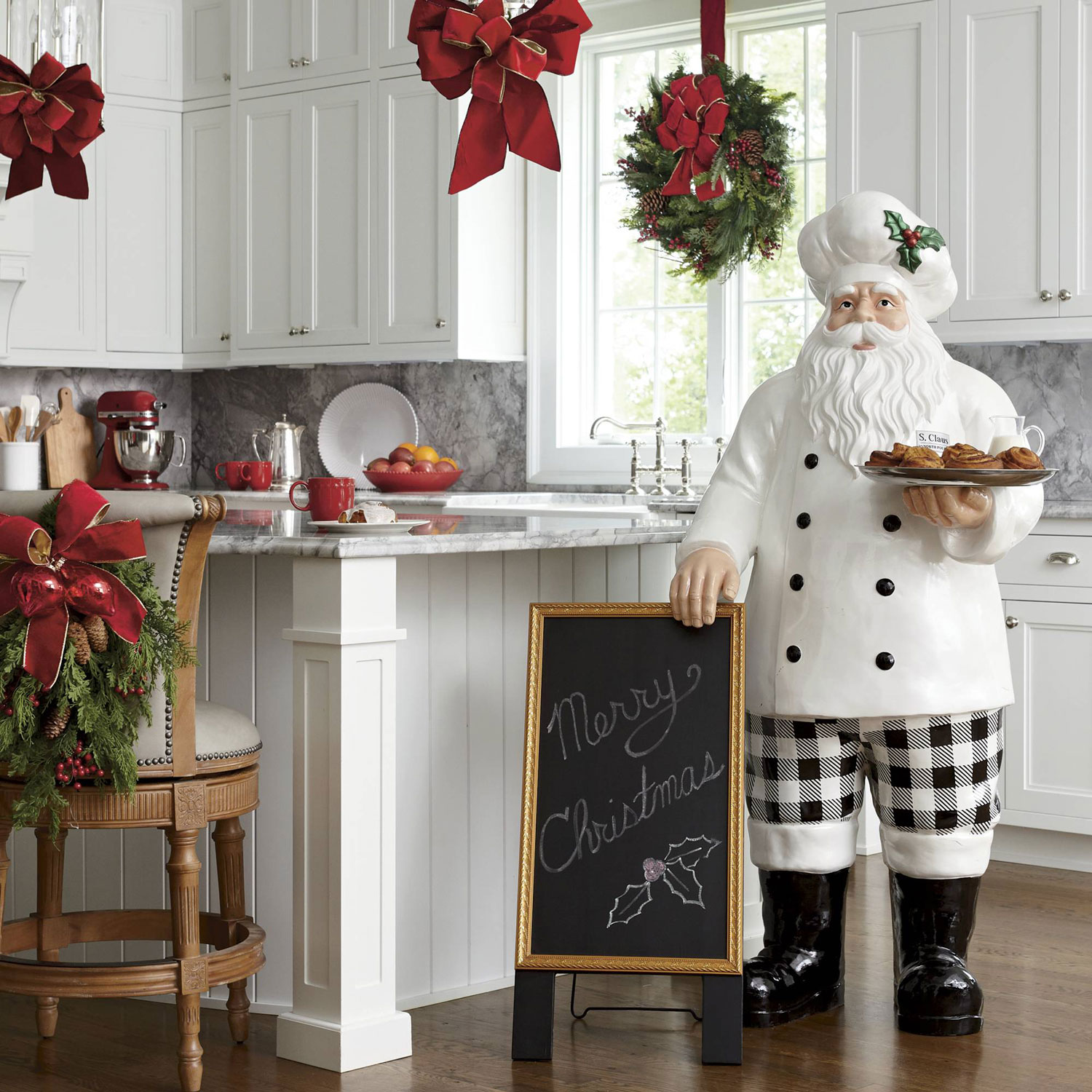 Santa Chef Statue With Serving Tray And
