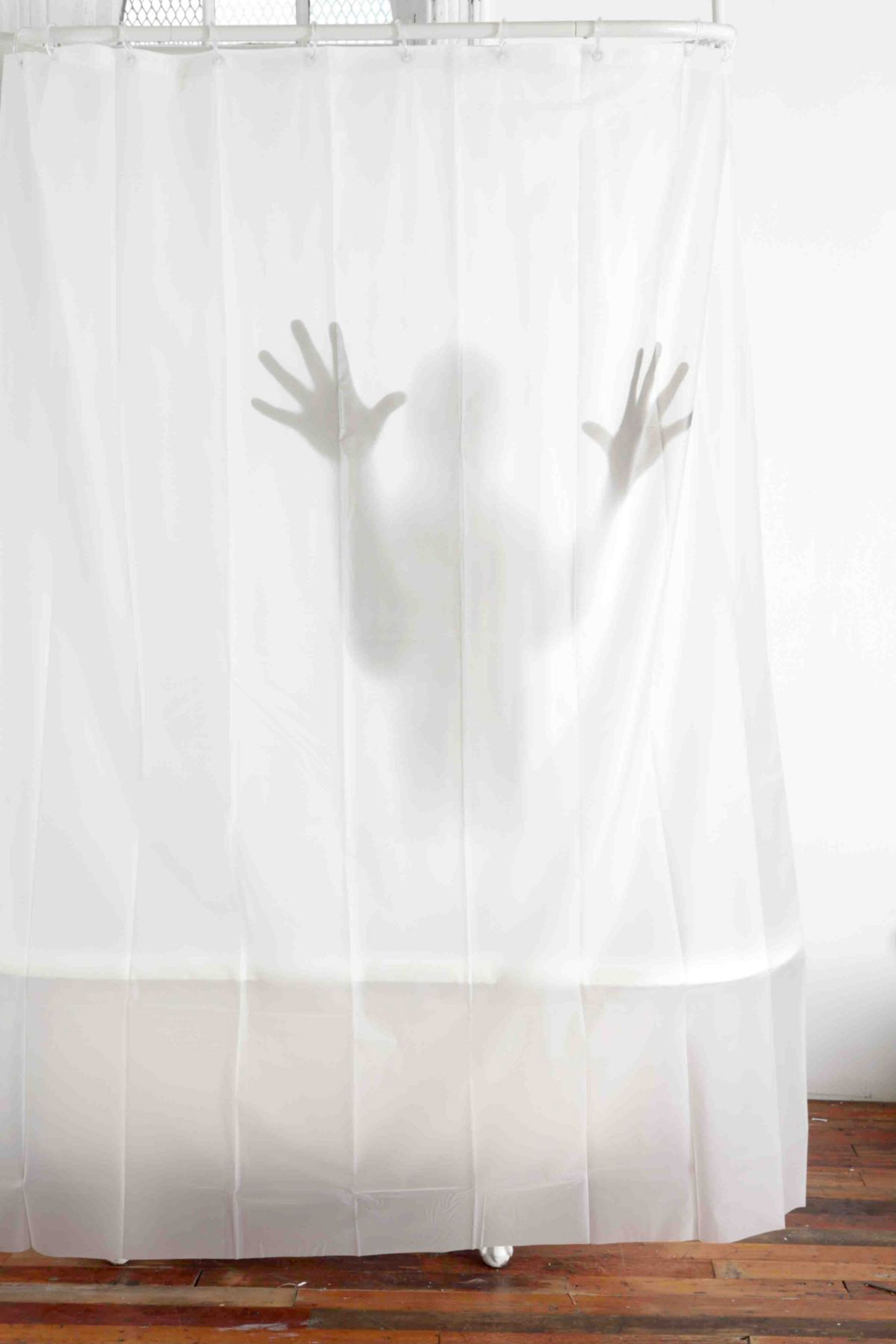 Scary shower curtain the green head