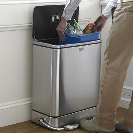 simplehuman steel bar step trash can recycler
