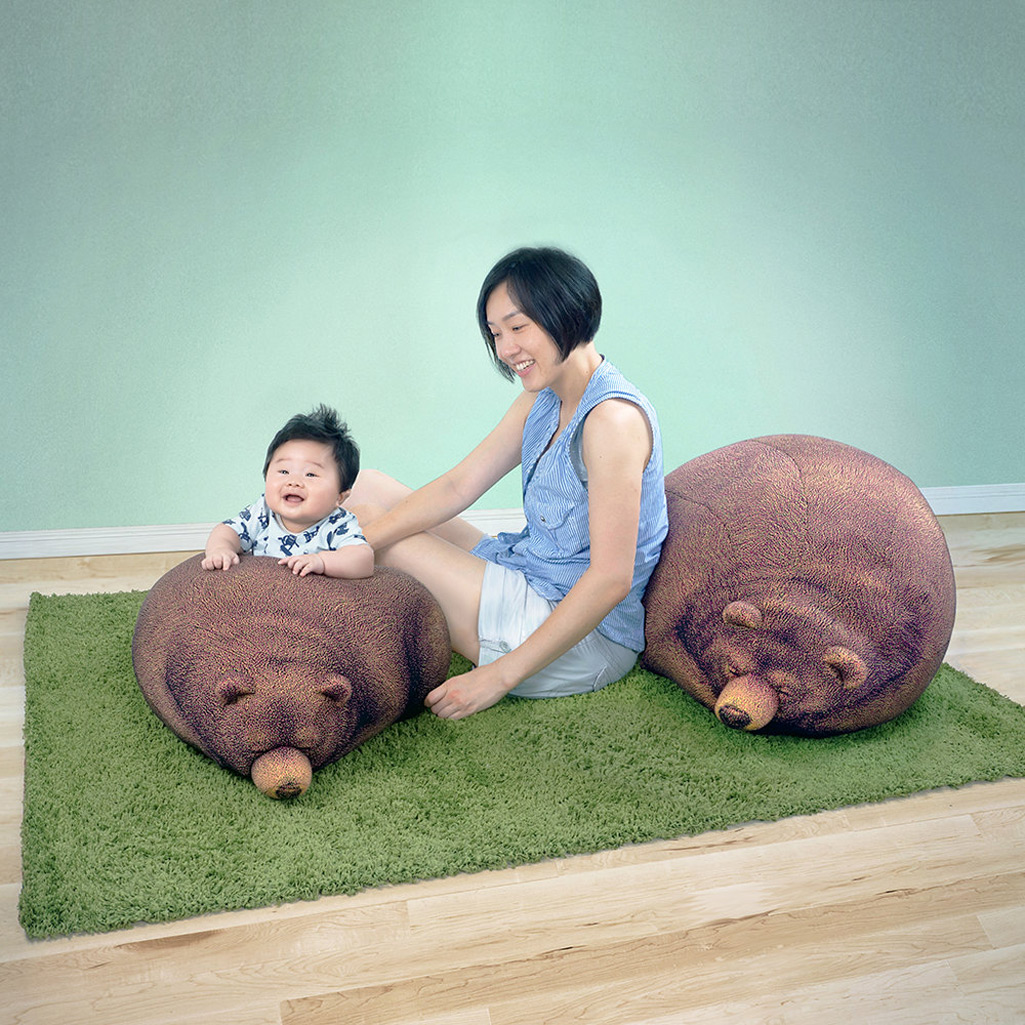 Sleeping Grizzly Bear And Cub Bean Bag Chairs