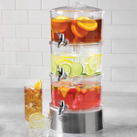 Lighted Triple-Decker Drink Dispenser w/ Stirring Infusion Paddles