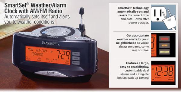 Smartset Weather Alarm Clock Radio