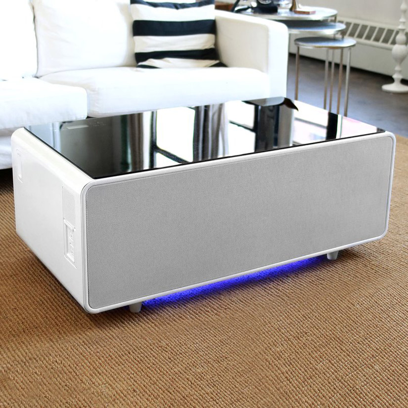 Sobro - Smart Coffee Table w/ Fridge, Speakers, LED Lights, and Charging Ports