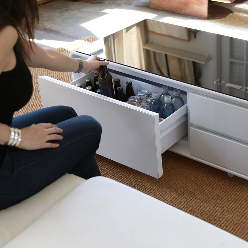 Sobro   Smart Coffee Table W/ Fridge, Speakers, LED Lights, And Charging  Ports