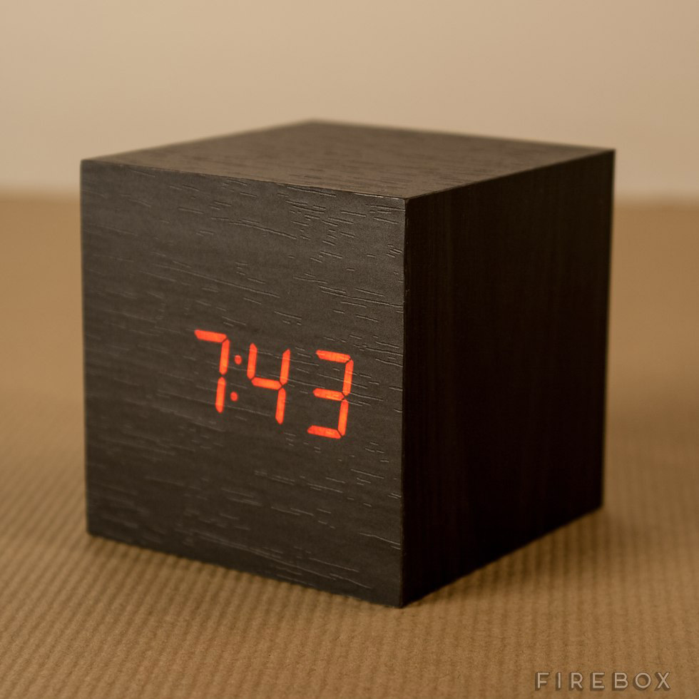 Sound activated wooden cube clock the green head for Cool nightstand clocks