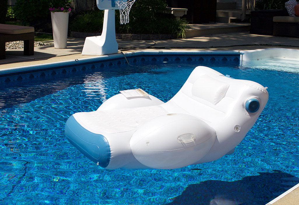 inflatable pool furniture. SoundFloat - Luxurious Floating Lounger With Built-in Audio System Inflatable Pool Furniture H