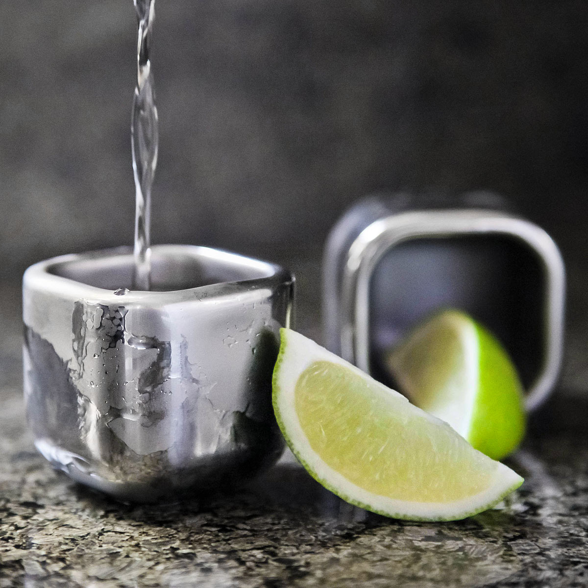 Sparq Cubed Freezable Stainless Steel Shot Glasses The