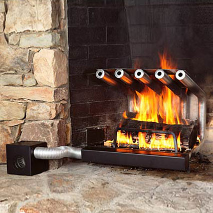 Boost the heat output of your fireplace by as much as 500% with a blower fan that draws in cool air from the room