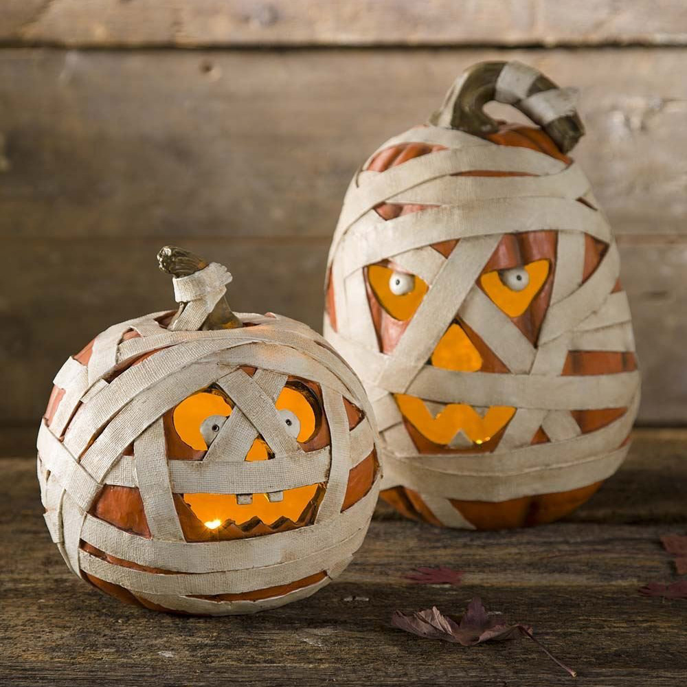 Spooky Lighted Mummy Pumpkins The Green Head
