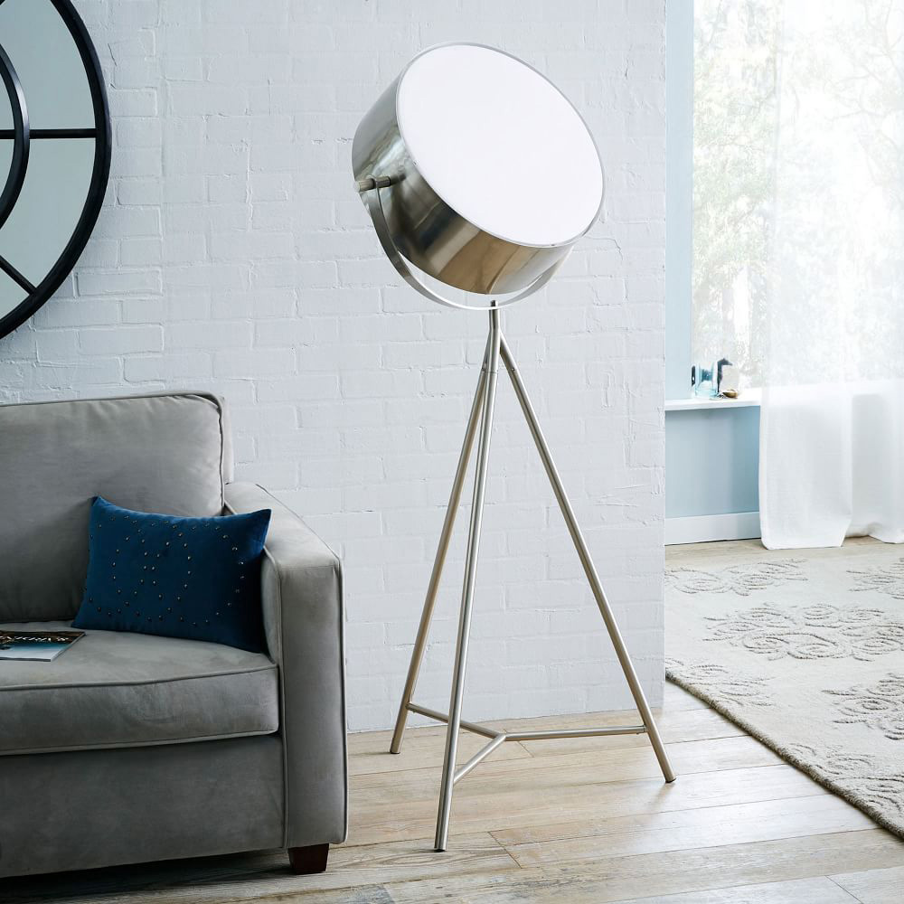 spotlight metal tripod floor lamp the green head. Black Bedroom Furniture Sets. Home Design Ideas