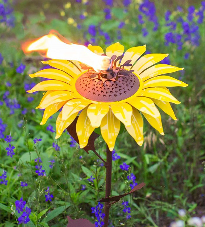 Steel Poppy Sunflower And Dahlia Garden Torches