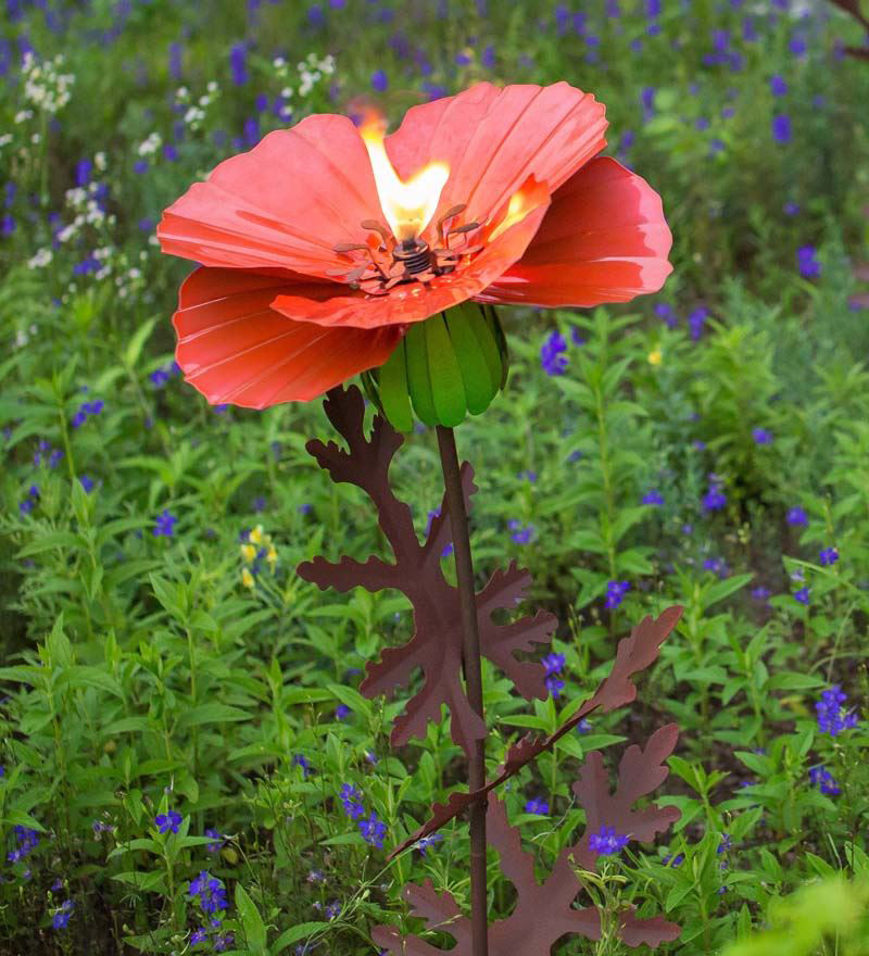 Steel Poppy Sunflower And Dahlia Garden Torches The