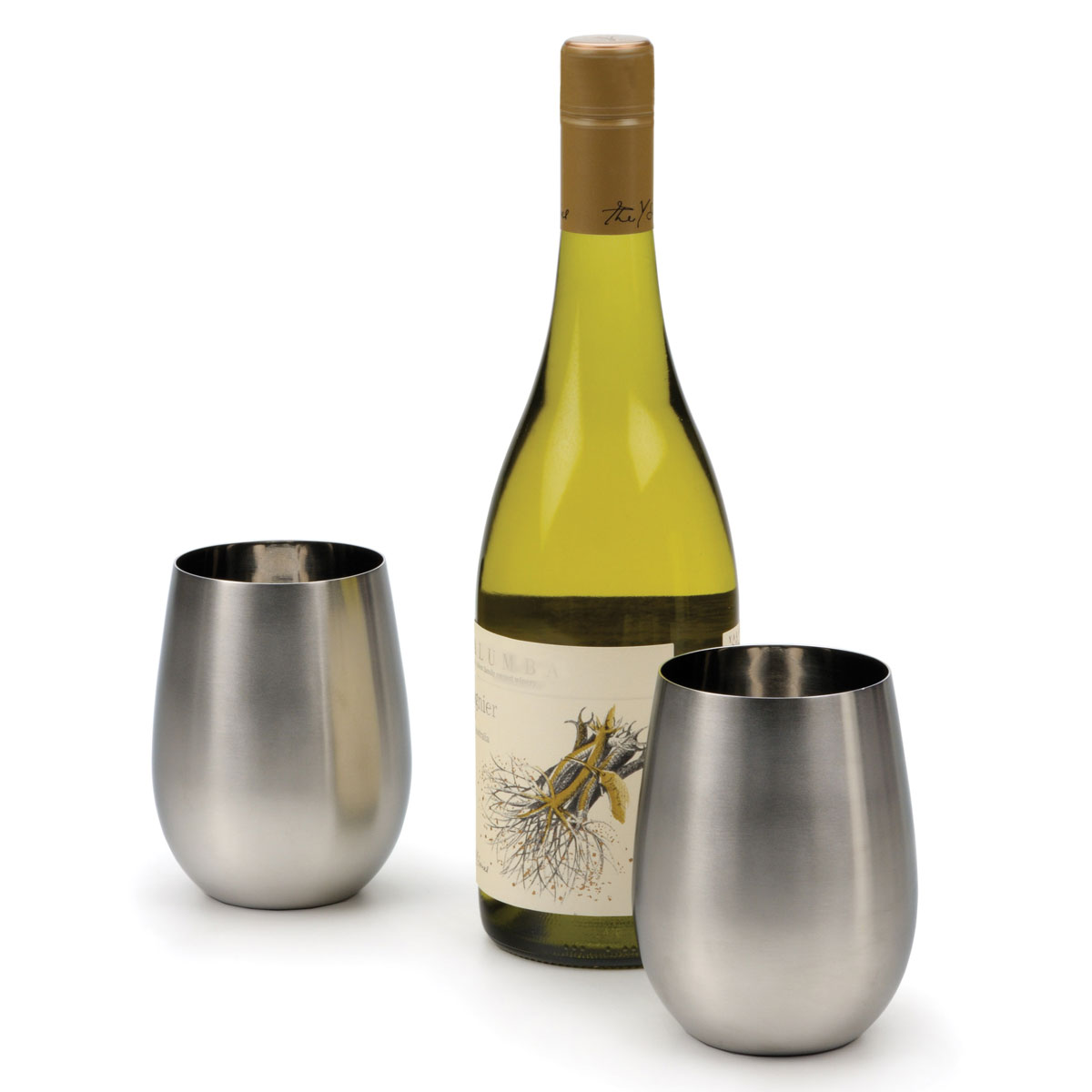 Stemless stainless steel wine glasses the green head - Stemless wine goblets ...