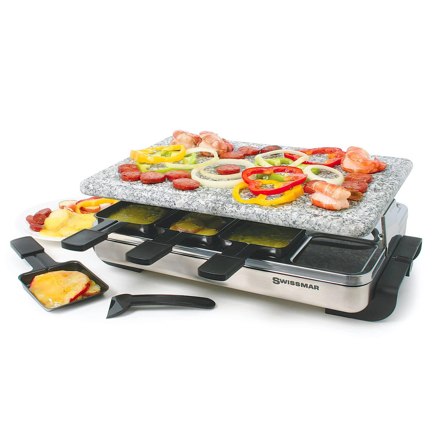 swissmar stelvio raclette granite stone party grill. Black Bedroom Furniture Sets. Home Design Ideas