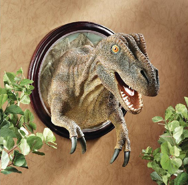 The Green Head - T-Rex Dinosaur Trophy Wall Sculpture