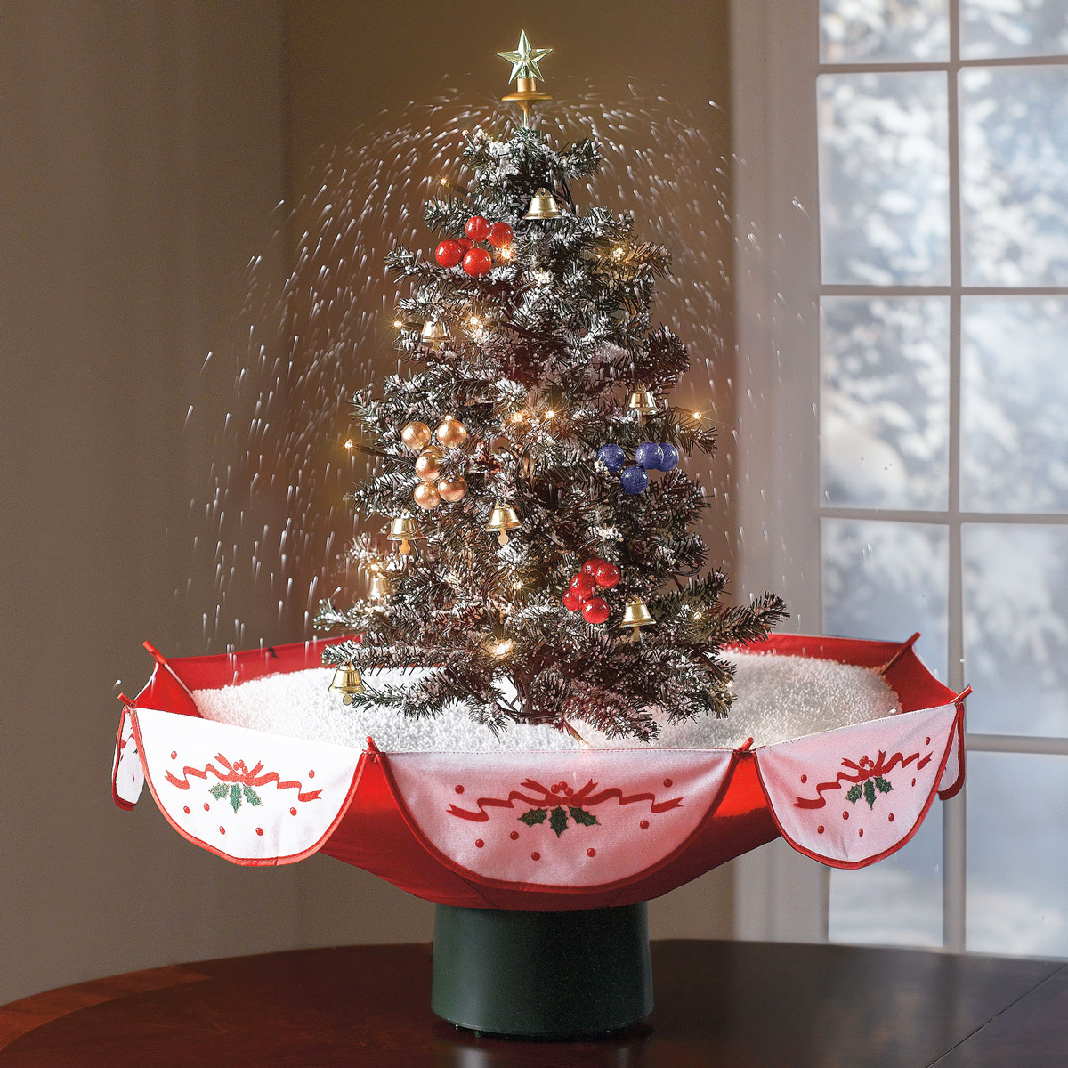 tabletop snowing christmas tree - Pre Lit Decorated Christmas Trees