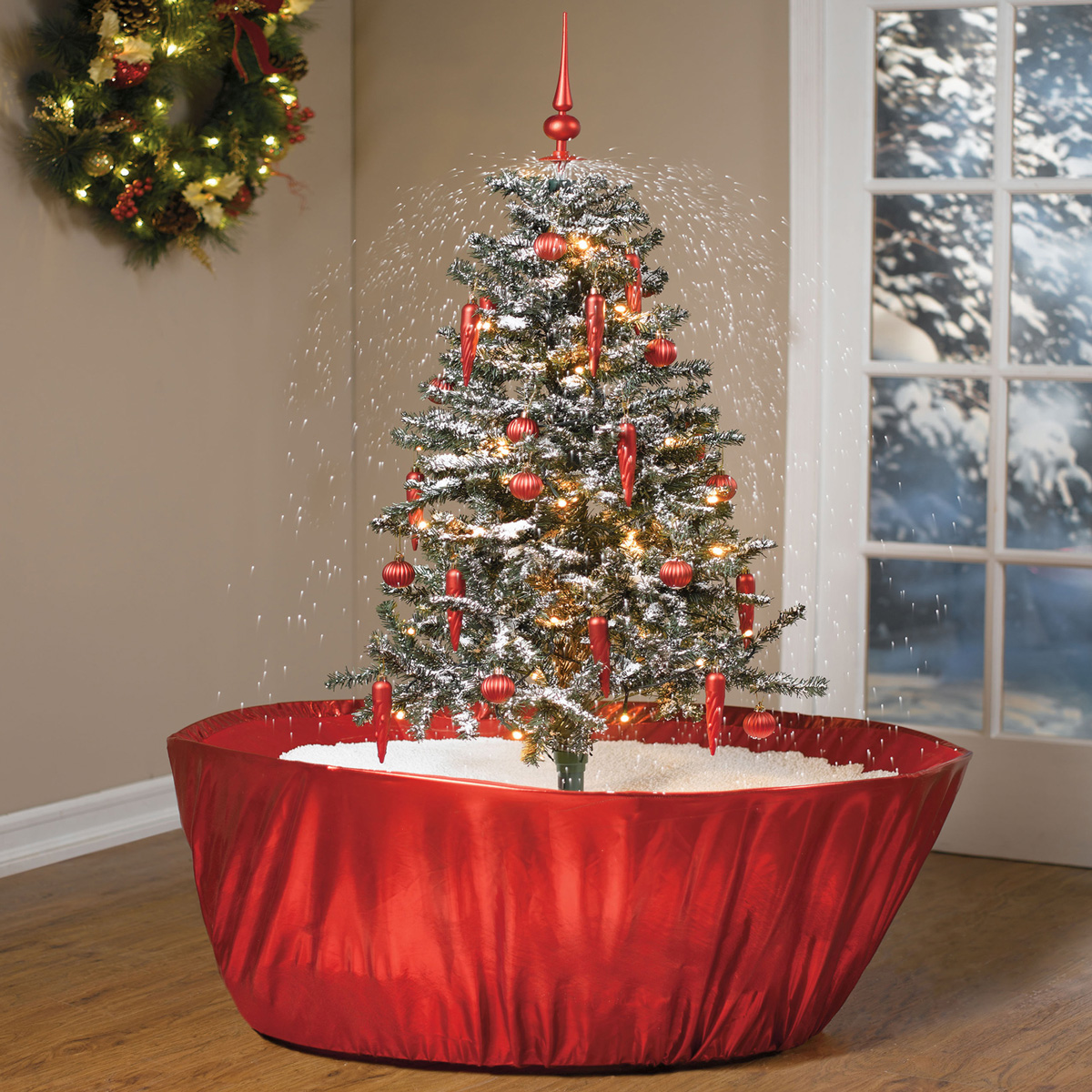 tabletop snowing christmas tree - Snow Christmas Tree