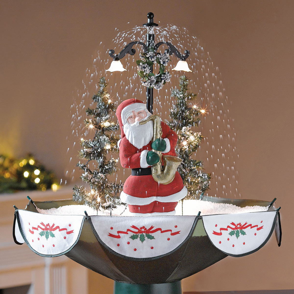 Tabletop christmas tree decorating ideas - Tabletop Snowing Christmas Tree