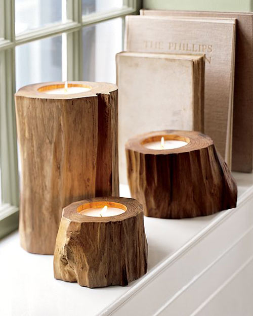 Teak wood candles the green head for Candle holders out of wood