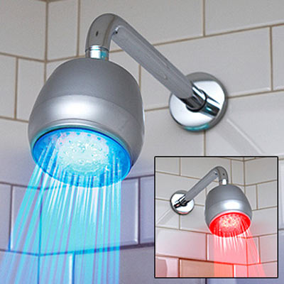 temperature sensitive led shower light the green head