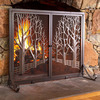 3D Tree-Lined Country Road / Raging Forest Fire Fireplace Screen