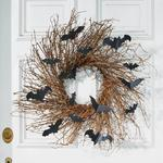 Black Bats and Grapevine Twigs Halloween Wreath