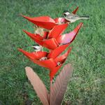 Desert Steel Heliconia Flower Standing Bird Feeder